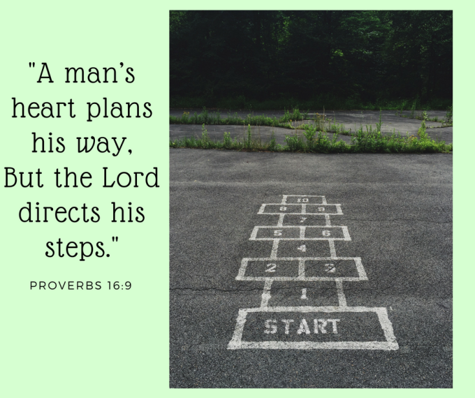A man_s heart plans his way,But the Lord directs his steps.